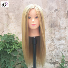 Training Head 65cm Blonde Long Hair Professional Bride Hairdressing Mannequin Dolls Good Synthetic Thick Hair Mannequin Head(China)