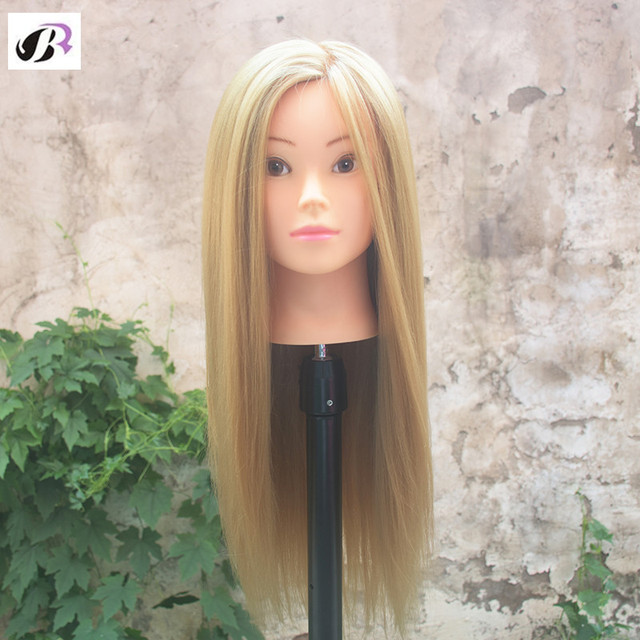 Training Head 65cm Blonde Long Hair Professional Bride Hairdressing Mannequin Dolls Good Synthetic Thick Hair Mannequin Head