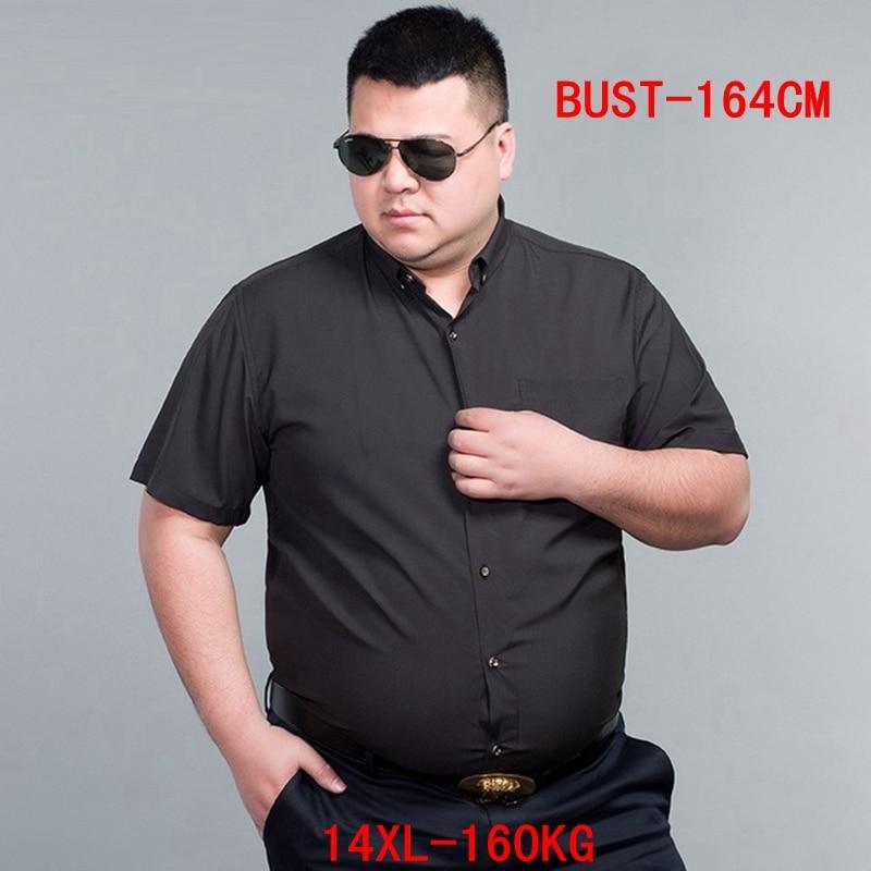 Men's Short Sleeve Big Shirt Large Size 10XL 11XL 12XL 13XL 14XL Business Office Comfortable Summer Lapel Black Shirt 8XL 9XL
