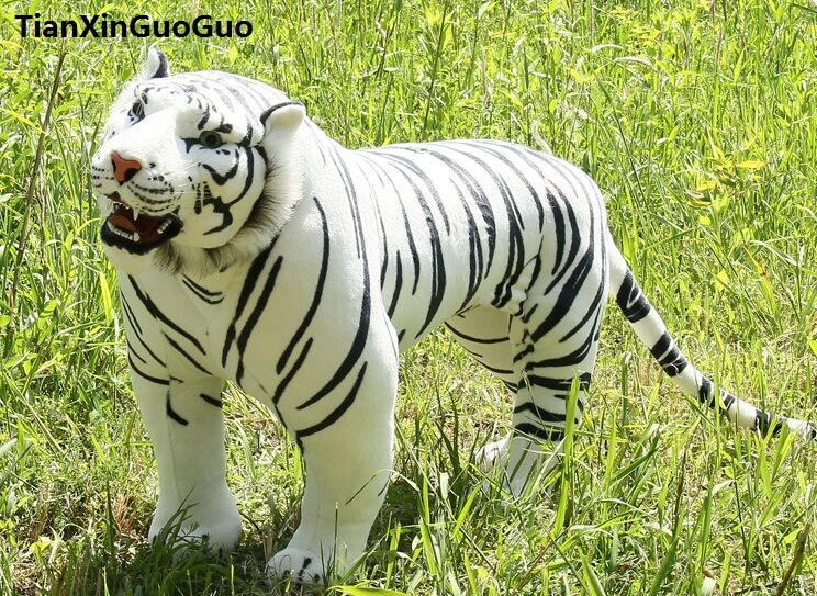 Artificial tiger huge 110x75cmwhite standing tiger plush toy can be rided, creative birthday gift , party docreation gift d2560 simulation animal huge leopard plush toy 110x70cm high quality can be rided birthday gift christmas gift w0442