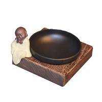 Cute Ashtray Smoke Tray Metal Wooden Round Table Ashtray Living Room Candy Dish
