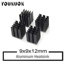10Pcs YOUNUON 9x9x12mm Black Aluminum Heatsink for Chip CPU GPU VGA RAM LED IC Radiator Black Mos Heat sink premium 100x100x4 0mm diy copper shim heatsink thermal pad for laptop gpu cpu vga chip ram and led copper heat sink