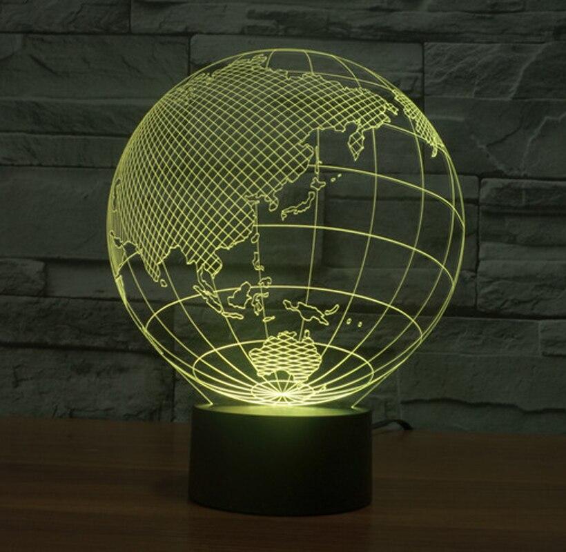 Carte du monde forme tactile nouvelles veilleuses Globe carte forme acrylique 3D illusion lampe enfants enfants chambre décoration Led nuit lampe