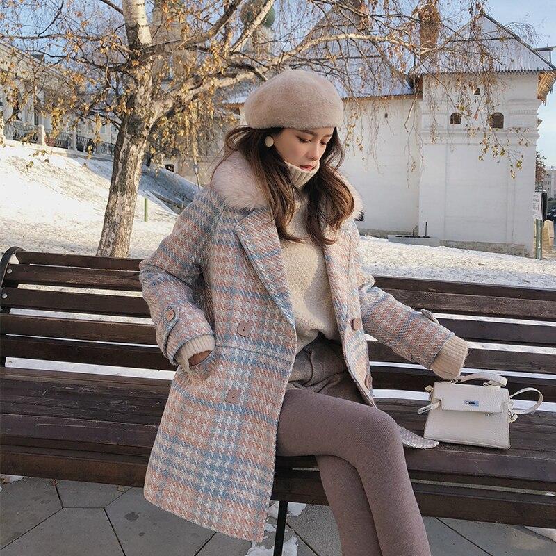 Mishow 2018 New Women outerwear winter clothing fashion warm woolen blends female elegant Double Breasted woolen