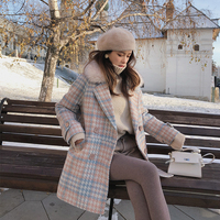 Mishow 2018 New Women outerwear winter clothing fashion warm woolen blends female elegant Double Breasted woolen coat MX18D9679