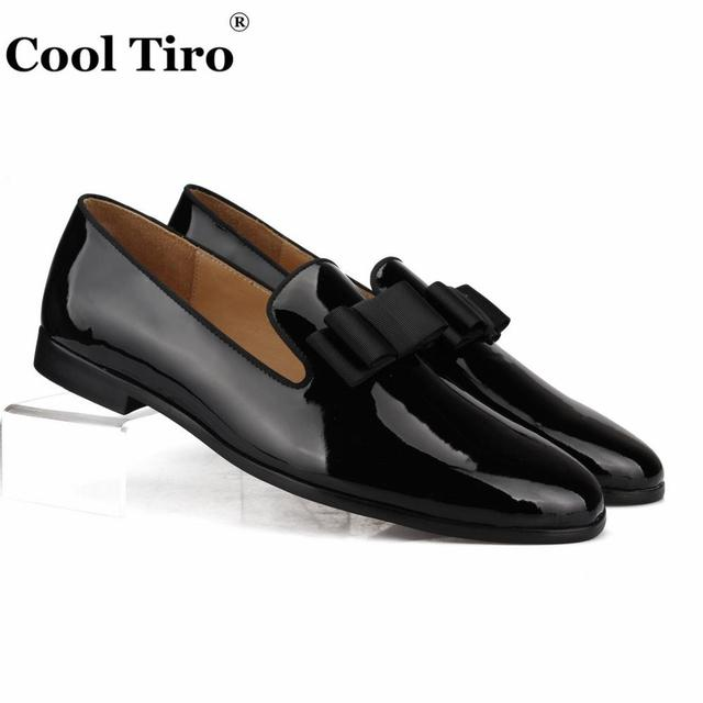 Cool Tiro Black Patent leather Loafers Men s Dress Shoes Moccasins Slippers  Silk Bow tie Formal Wedding Business Casual Flats c8b491d001f3