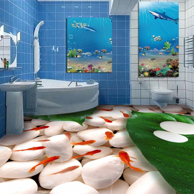 Free Shipping Goldfish pebble bathroom 3D floor painting thickened non-slip kitchen bedroom living room lobby flooring mural free shipping realistic large pond carp floor 3d wear non slip thickened kitchen living room bathroom flooring wallpaper mural