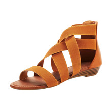 SAGACE/Модные женские босоножки с эластичным ремешком на щиколотке; римские сандалии на танкетке; повседневные сандалии; женские сандалии для отдыха; 932616