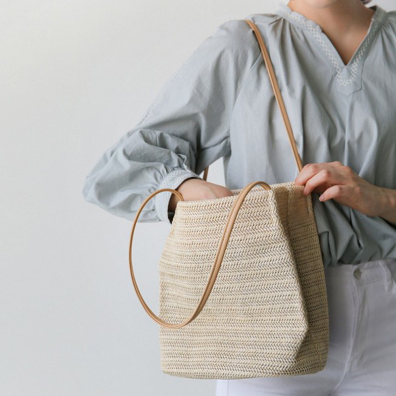 Woven Bag Linen Bucket Women's Grass Tote Knit Tote Rattan Bags Summer Durable Woven Straw Beach Bags