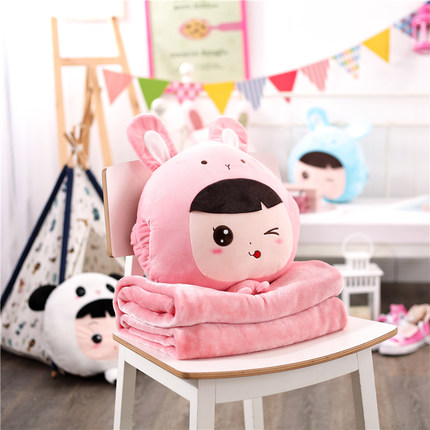 Warm hand pillow blanket three in one pillow quilt dual use air conditioner blanket cute cartoon nap blanket pillow blanket in Cushion from Home Garden