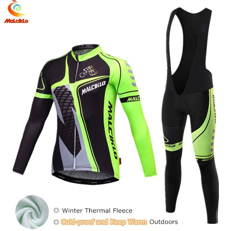 Malciklo Winter Thermal Fleece Cycling Set Bike Clothes MTB Bicycle Clothing Cycling Jersey Set Maillot Ropa