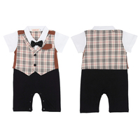 Baby Boy Wedding Birthday Party Waistcoat Tuxedo 1pc Outfit Bow Tie Suit Jumpsuit Age 12 36M
