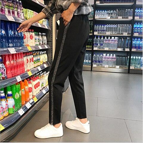 2019 Spring Sweatpants female fashion Harem Pants Loose Trousers For Women Black Striped Side Sweat Pants Female Plus Size S-3XL Lahore