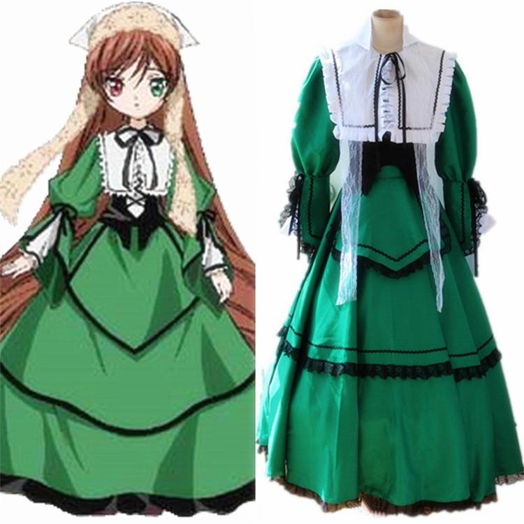 Rozen Maiden Jade Stern Anime Cosplay Costume Suiseiseki Lolita Dress +Free Track Number