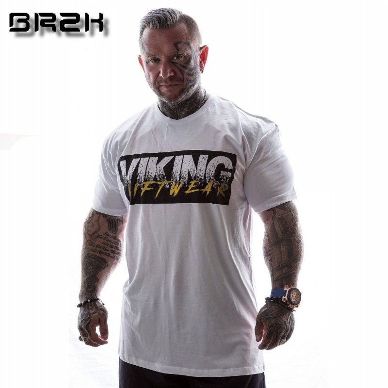 VIKING New Brand clothing Gyms Tight t-shirt mens fitness t-shirt homme Gyms t shirt men fitness Summer tops