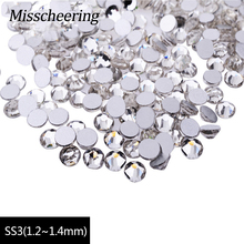 SS3 Nail Rhinestones 1440pcs/lot Clear Crystal Flat Back Non Hotfix Glitter Nail Clothing Accessories,3D Nail Art Decorations