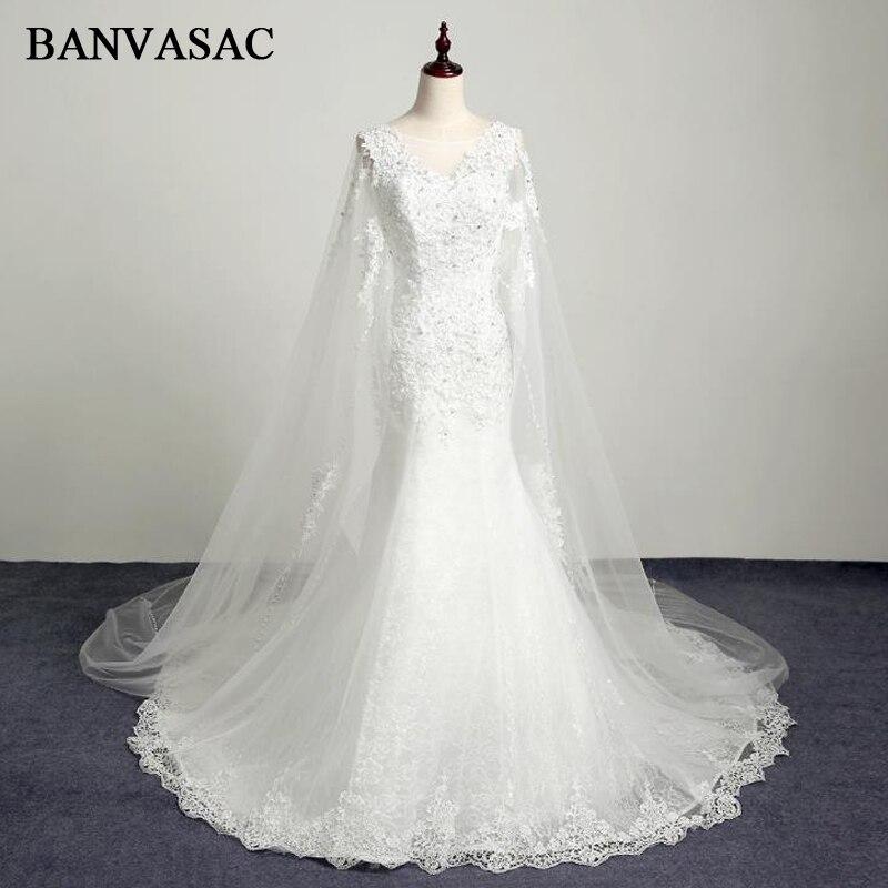 BANVASAC 2017 Νέα γοργόνα Κομψή κέντημα V Φόρεμα νυφικά αμάνικα Κρύσταλλα σατέν Tank Sweep Train Lace Νυφικά εσθήτες