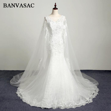 BANVASAC 2017 New Mermaid Elegant Embroidery V Neck Wedding Dresses Sleeveless Satin Crystals Tank Sweep Train Lace Bridal Gowns