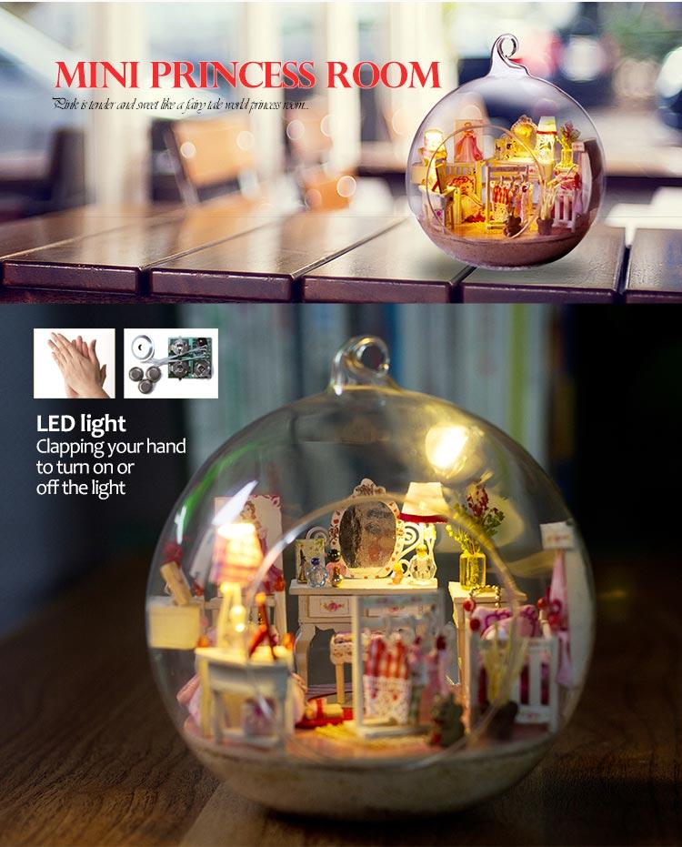 Dolls & Stuffed Toys Creative Diy Doll House Miniature With Furniture Glass Ball Hemp Rope Handmade Casa Toy For Children Mini Princess Room G017 #e