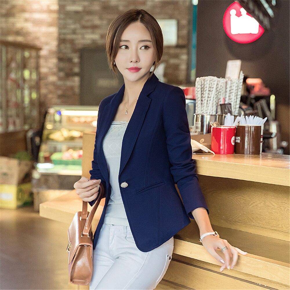 02eb3b1c Chaqueta de mujer azul femenina talla grande uniforme elegante de negocios Formal  chaqueta de mujer blanco Blaser mujer azul mujer traje de oficina