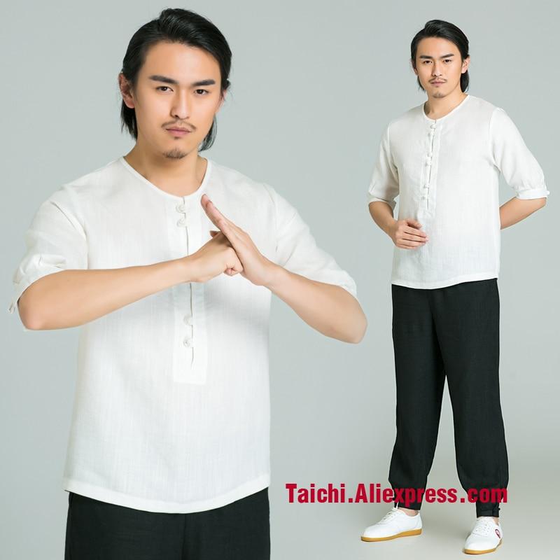 Summer Handmade Linen Tai Chi T-shirt And Pants Wushu, Kung Fu,martial Art Suit,short Sleeve T-shirt + Pants
