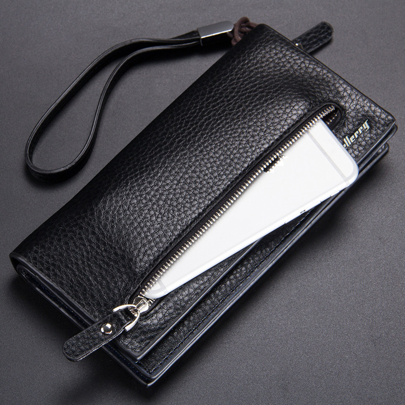 High Quality Pu Leather Long Wallet For Men Black Fashion Phone Credit Card Holder Coin Purses Business Clutch Cowhide Black in Wallets from Luggage Bags