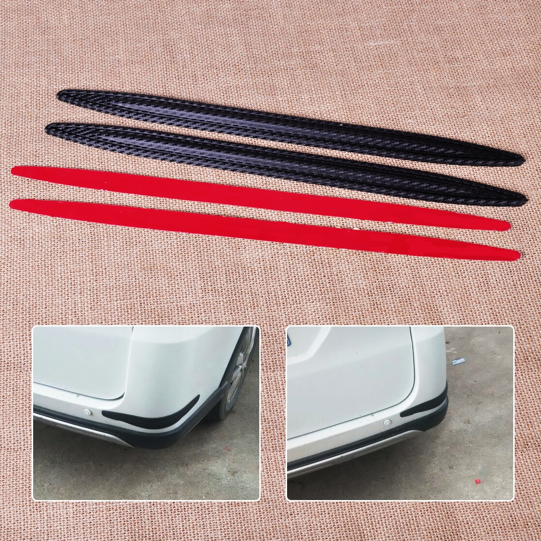 CITALL Car SUV Auto Pickup 2pcs Carbon Fiber Rubber Front Rear Bumper Edge Protector Corner Guard Anti-rub Scratch Sticker protective pvc car bumper guard protector sticker white 2 pcs