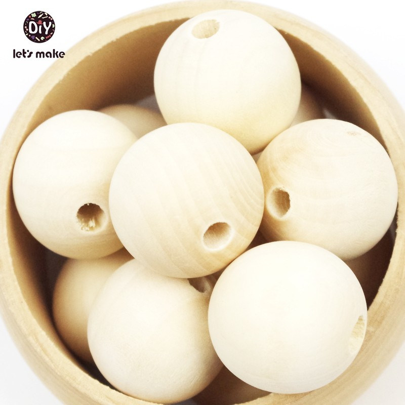 Let's Make Unfinished 10mm-20mm Handmake Wood Beads Wooden Teether 100pc Round Natural Wooden Beads Wood Baby Teether Mobile