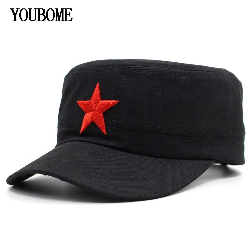 YOUBOME Fashion Men Military Hats Women Cotton Dad Gorras Flat Planas Five  Star ba7902d6bc2