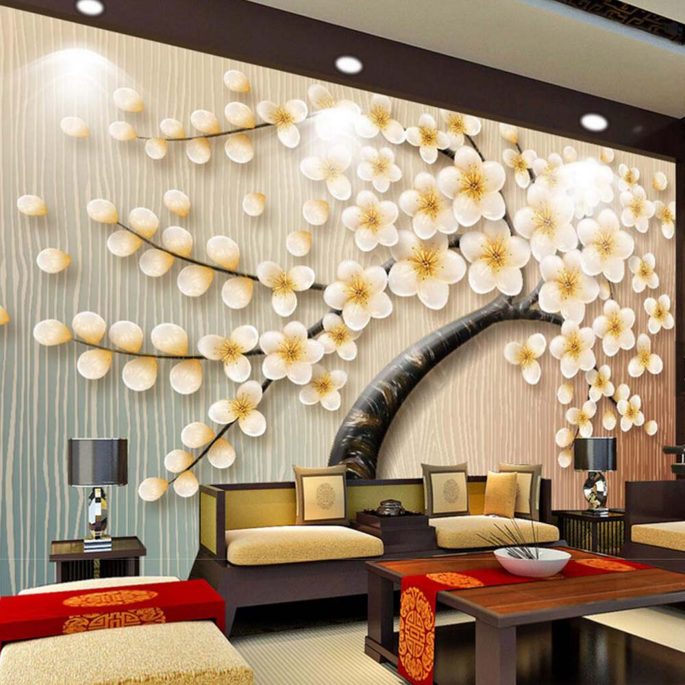 European 3D Embossed HD Photo Wallpaper Wall Mural Living Room TV Background Art Decor Custom