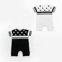 Baby Clothes 2017 Summer New Baby Rompers Casual Cute Sailor Wind Baby Short Sleeve Striped Suits