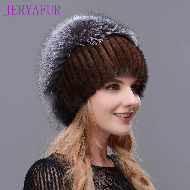 New Fashion Hat Warm Winter New Design Hat Real Natural Mink Fur Hat And Silver Fox Fur Cap For Women With Corsage In The Back winter female fox fur hat autumn and winter real natural raccoon fur cap women warm fashion free shipping