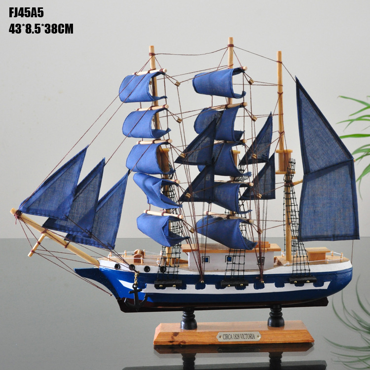 Mediterranean Style Wooden Sailing Boats Marien Style 45 Cm Sailing Model Ship Home Decoration Accessories Mediterranean Homes