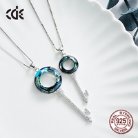 100% S925 Sterling Silver & Blue Crystals from Swarovski Fashion Jewelry Austrian Rhinestone Charms Pendants for Women Gift