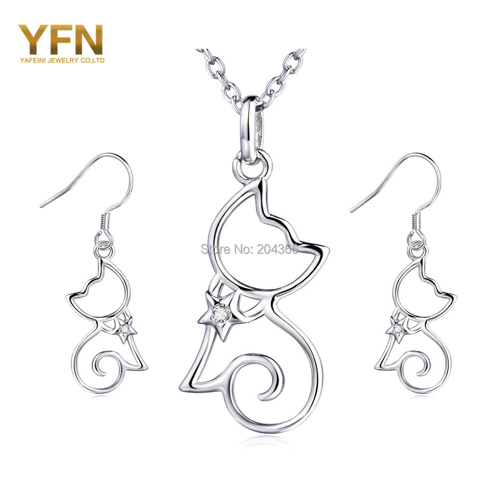 Genuine 925 Sterling Silver Cat Jewelry Set Wedding Accessories Earrings  Necklace Bridal Jewelry Set For Women