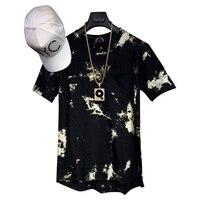 Człowiek Tun Si 2017 balsam Hip Hop StreetWear T koszula krawat barwnika topy Tee Rozszerzony side zipper Tee Mężczyzn Swag Odzieży miejskiej kanye west hba
