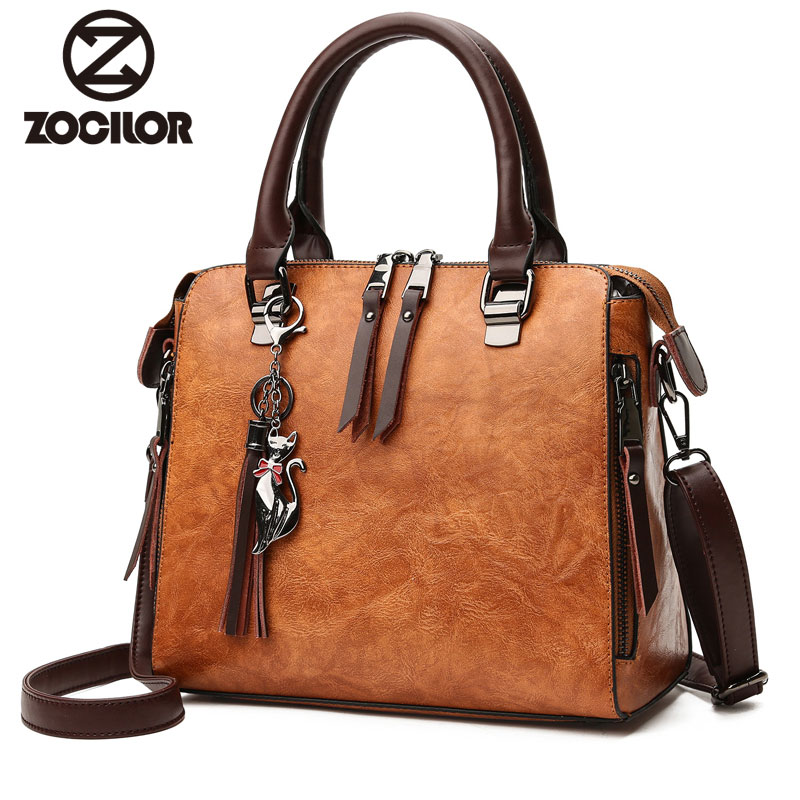 Fashion pu leather Women Shoulder Bag Female Tassel Pendant Women Handbag Double zipper Large Women Messenger Bags Sac
