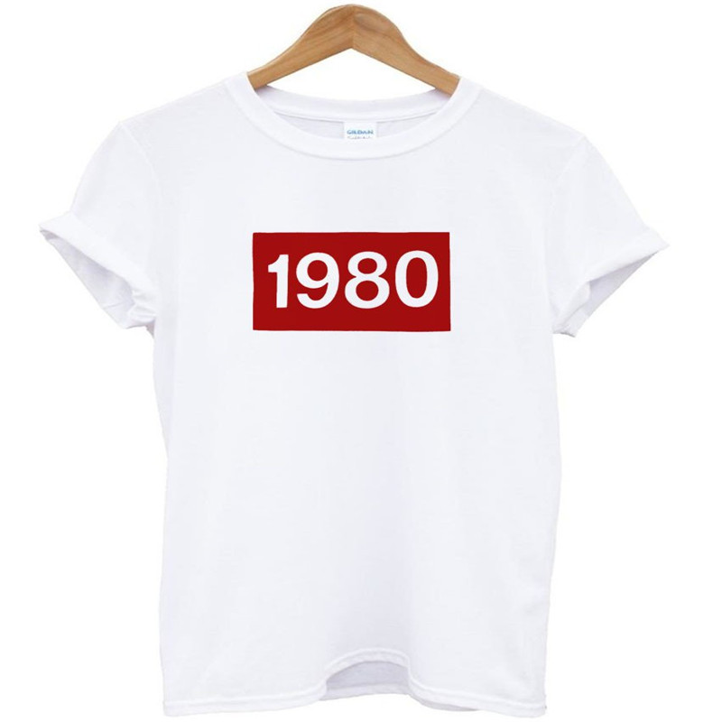 Women T shirt 1980 red Letters Print Cotton Casual Funny tshirts For Lady Top Tee Hipster Drop Ship Tumblr