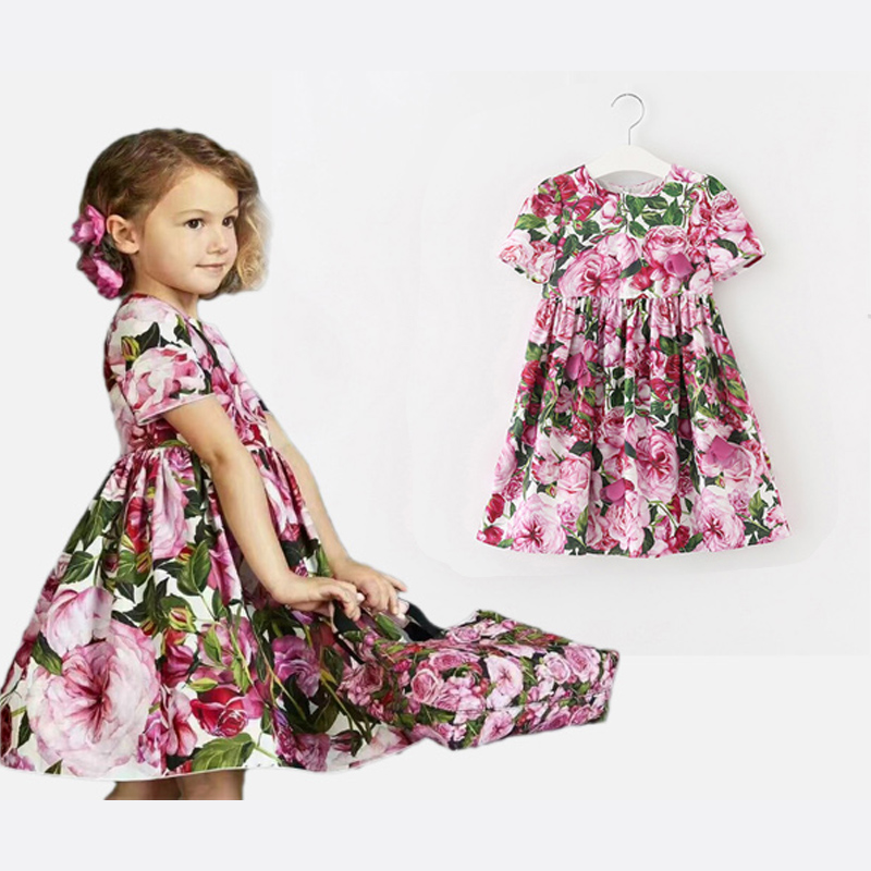 Girls Rose Bianco Dresses 2017 Brand Summer Princess Dress Robe Fille Enfant Girls Costume Children Dress Kids Clothes 3-12Y fashion girls dresses summer brand princess dress girl clothes floral print robe fille enfant kids dresses child costumes ld 015