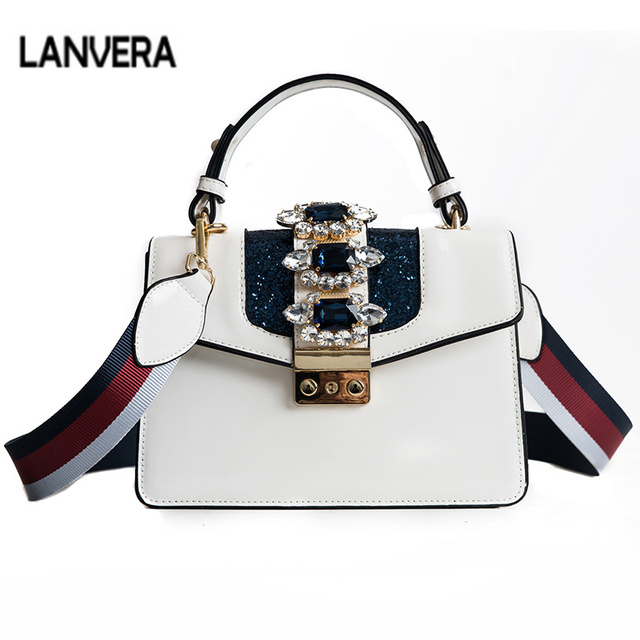 Luxury Designer Famous Brand Women Fashion Diamond Messenger Bags Wide  Shoulder Straps Handbags Crossbody Bags for 3bd2b751d16c