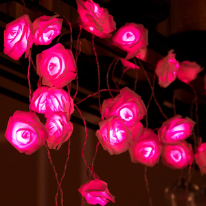 1 м/2 м/3 м/4 м/5 м/10 м розовый цветок светодиодный гирлянда Праздничные огни для рождества свадьбы сада вечерние украшения на День святого Вале...