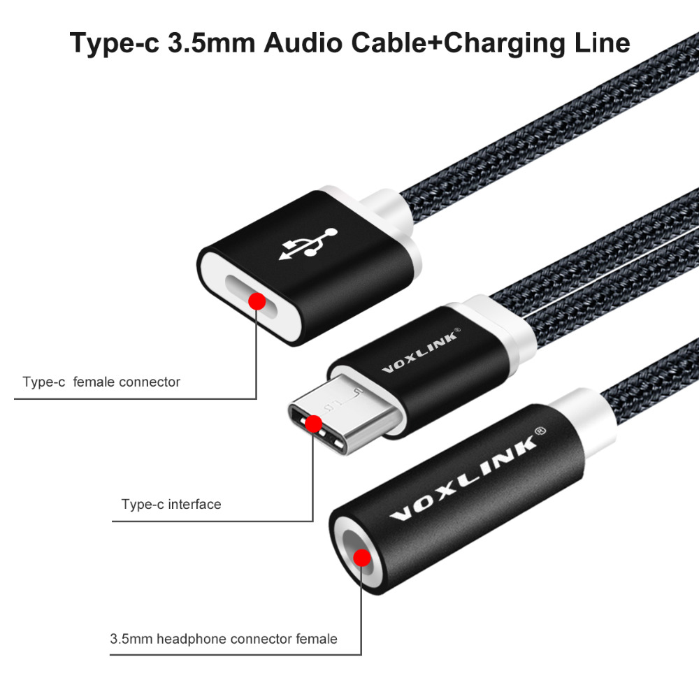 Image 2 - VOXLINK USB C Cable USB Type C to 3.5mm Audio Jack Headphone Cable Charging Adapter For Letv 2/Xiaomi Mi6/Huawei Mate 10 Pro