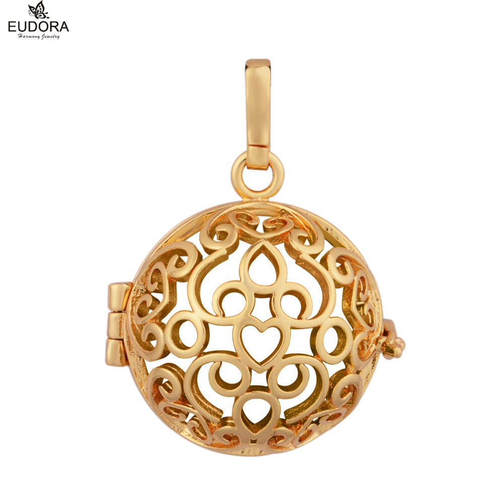 5pcs Pregnancy Ball Gifts Eudora Harmony Bola Jewelry Heart Shape Cage for Chime Ball 20mm Gold-Color Locket Pendants For Women