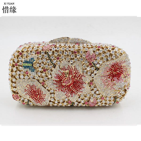XIYUAN BRAND luxury wedding mother gift Crystal Box Hard Case Evening Clutch Bag and Evening Bags for wedding gifts clutch purse
