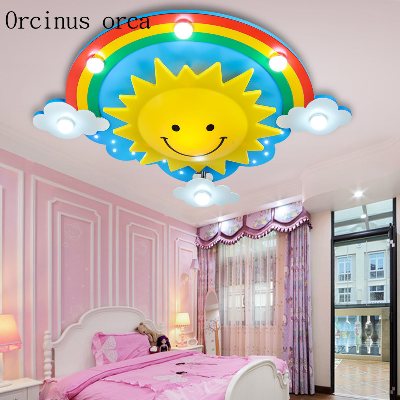 Creative personality cartoon light children's room ceiling lamp baby bedroom lamp boys and girls room lighting eye protection