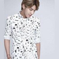 EXO KRIS Wu Yifan sama koszula CF adnotacje wiosną i latem taki sam akapit długim rękawem biała koszula z graffiti
