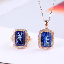 gemstone jewelry factory wholesale new trendy natural blue topaz ring pendant necklace 925 sterling silver crystal jewelry set цена