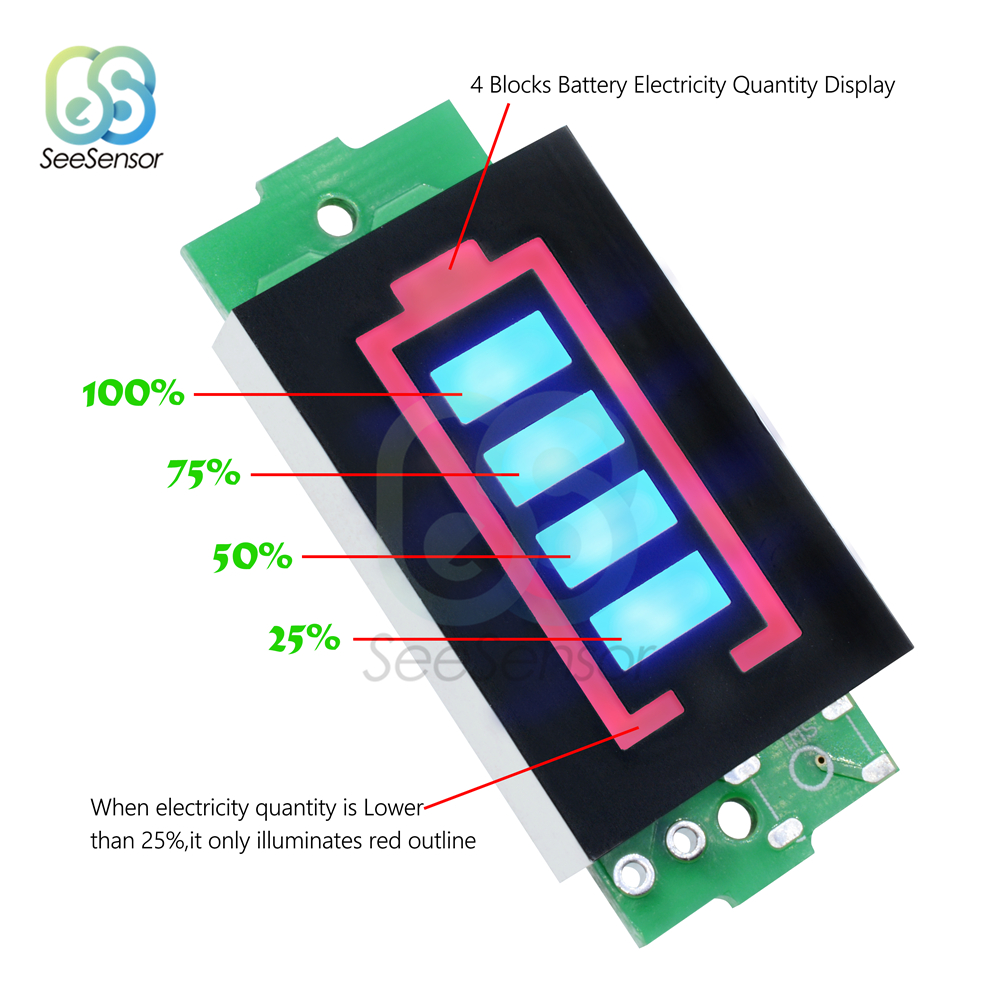 4S 18650 Lithium Battery Capacity Indicator LED Display Board Panel Power T