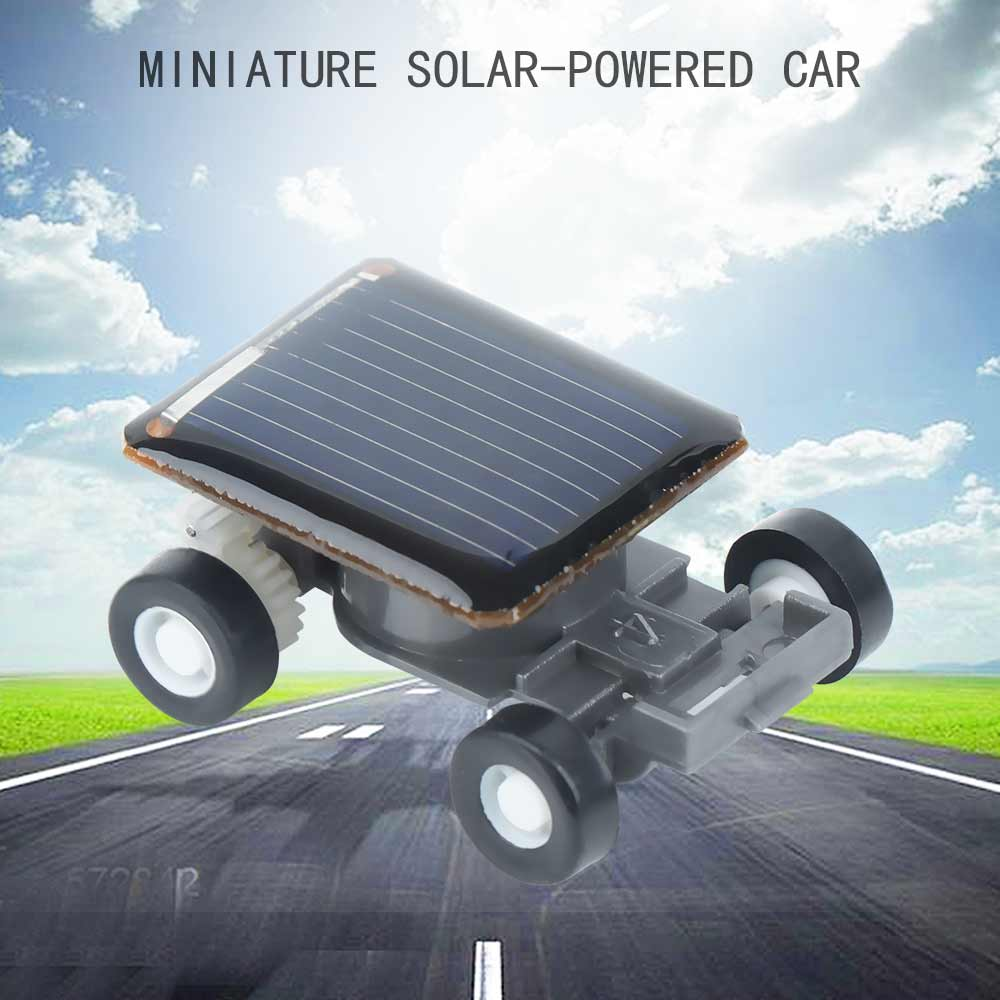 New 1 PCS Black Solar Power Racing Car Toy Built-in mini motor engine car gadget solar toy