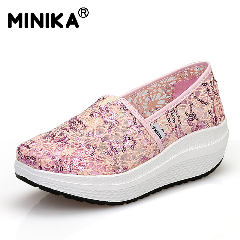 Minika Fashion Lose Weight Women Wedge Shoes Summer Swing Female Lace Zapatillas Shoes Thick Bottom Breathable Platform Shoes free shipping fashion loss weight women shoes spring summer autumn swing female breathable mesh shoes women casual shoes 2717w
